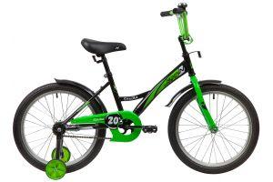 """Велосипед NOVATRACK 20"""" STRIKE черный-зелёный, тормоз нож, крылья корот, защита А-тип"""