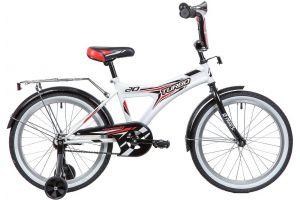 """Велосипед NOVATRACK 20"""" TURBO, монокок, белый, тормоз ножной, крылья и багажник"""