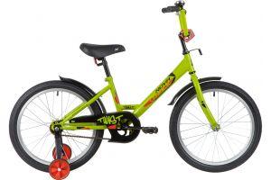"""Велосипед NOVATRACK 20"""" TWIST зелёный, тормоз нож, крылья корот, защита А-тип"""