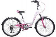 """Подростковый велосипед  NOVATRACK 24"""", BUTTERFLY, сталь.рама 11"""", белый-розовый, 6-скор, TY21/RS35/SG-6SI, V-brake"""