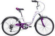 "Подростковый велосипед  NOVATRACK 24"", BUTTERFLY, сталь.рама 13"", белый-фиолетовый, 6-скор, TY21/RS35/SG-6SI, V-br"